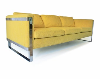 Milo Baughman Style Mid Century Modern Sofa. Made by Flair, INC. - 3 Seat Sofa - Chrome Flat Bar - YELLOW - Original Upholstery