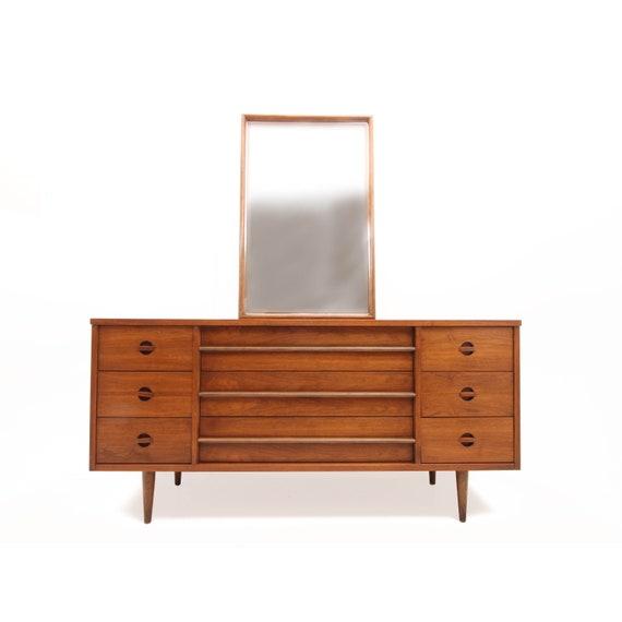 Bassett Furniture Industries Long Dresser and Mirror - Mid Century Modern -  Triple Drawer Dresser - Walnut Dresser - Low Dresser