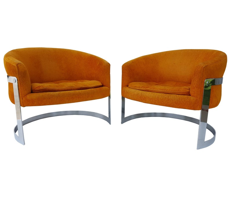 Pair Of Milo Baughman Barrel Back Chairs   Mid Century Chrome Flat Bar  Lounge Chairs   Tufted  Original Condition