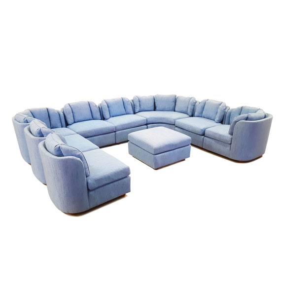 Henredon Folio 500 - Nine Piece Sectional Sofa - Large Sectional - Vintage  - Modular Seating - Light Blue Upholstery- Arrangeable Pieces
