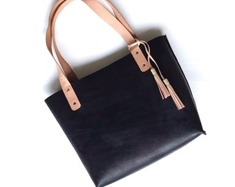 Chrome Free Leather Bag - Vegetable Tanned Leather Tote Bag - Black Leather Tote  - Black Tote - Vachetta Tote Bag - Genuine Leather Bag