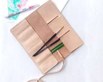 Leather Pencil Case, Leather Artist Roll, Personalized Leather Pencil Roll, Paint Brush Case, Leather Tool Roll, Makeup Brush Case