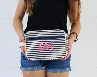 710e8a3b60 Personalized Canvas Travel Kit Striped Cosmetic Bag    Bridesmaid Bridal  Party Gift