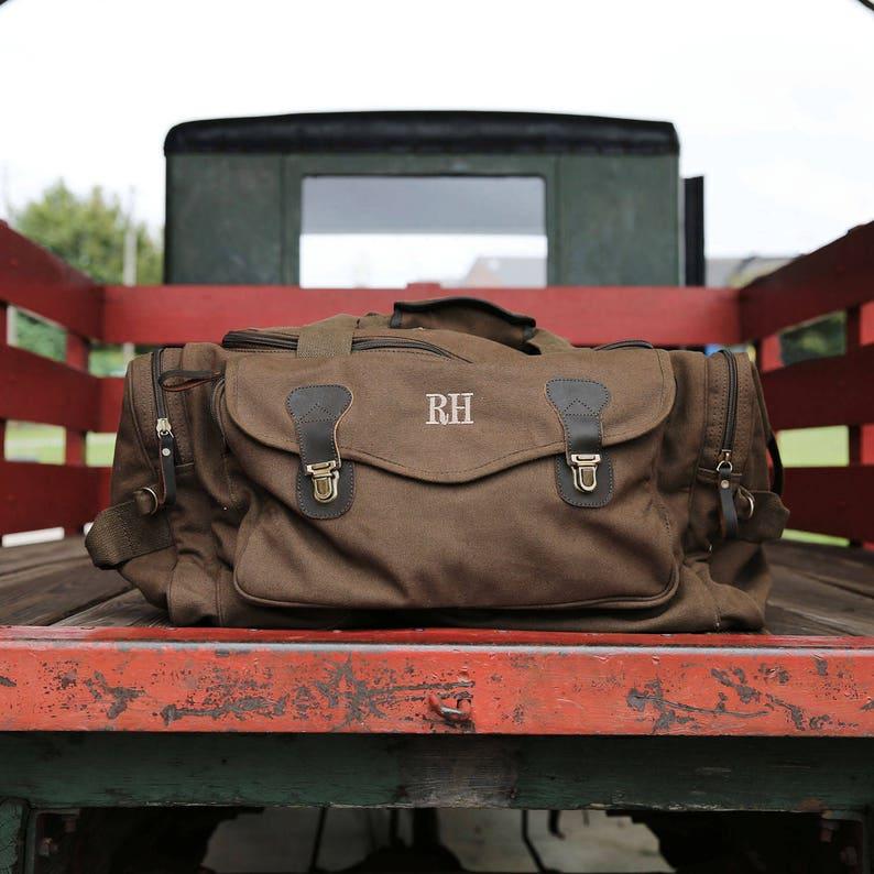 Personalized Canvas Weekender Travel Bags // Groomsmen Gift image 0
