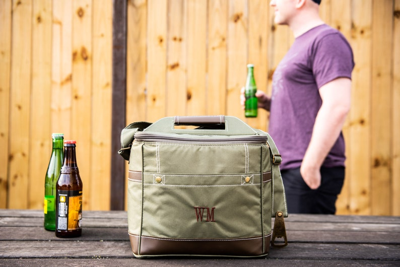 Personalized Beer Cooler Bag // With Bottle Opener // image 0