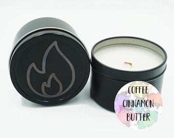 Cinnamon bun   French Vanilla Latte 6oz tin candle   3oz tin candle   Coconut apricot wax candle   Wood wick candle