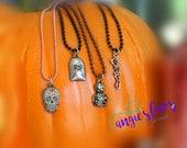 Ball Chain Necklaces, Halloween, RIP Tombstone, Sugar Skull, Mummy, Skeleton