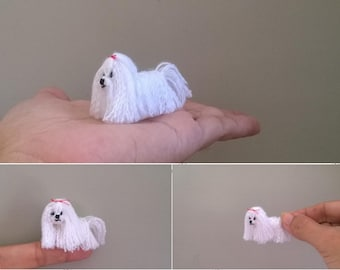 Mini long hair maltese Dog Pattern, miniature amigurumi, animals crochet # 133, PDF INSTANT DOWNLOAD