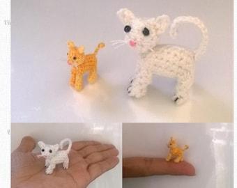 Tiny Cat Pattern, miniature amigurumi, micro animals crochet # 109, PDF INSTANT DOWNLOAD