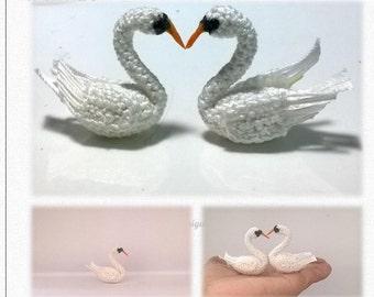Mini Swan Pattern, miniature amigurumi, animals crochet - PDF INSTANT DOWNLOAD