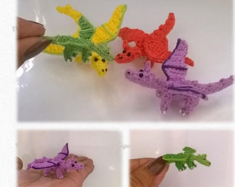 Mini Dragon  Pattern, miniature amigurumi, animals crochet # 114, PDF INSTANT DOWNLOAD