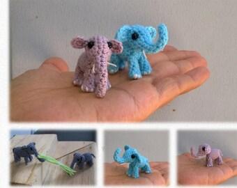 Tiny Elephant Pattern, miniature amigurumi, micro animals crochet # 107, PDF INSTANT DOWNLOAD