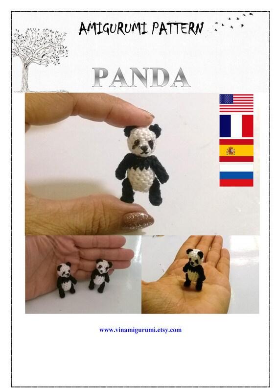 Mini peluche amigurumi panda au crochet fin - Un grand marché | 792x570
