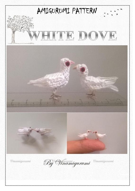 Mini Blanca Paloma patrón miniatura amigurumi, animales, crochet ...