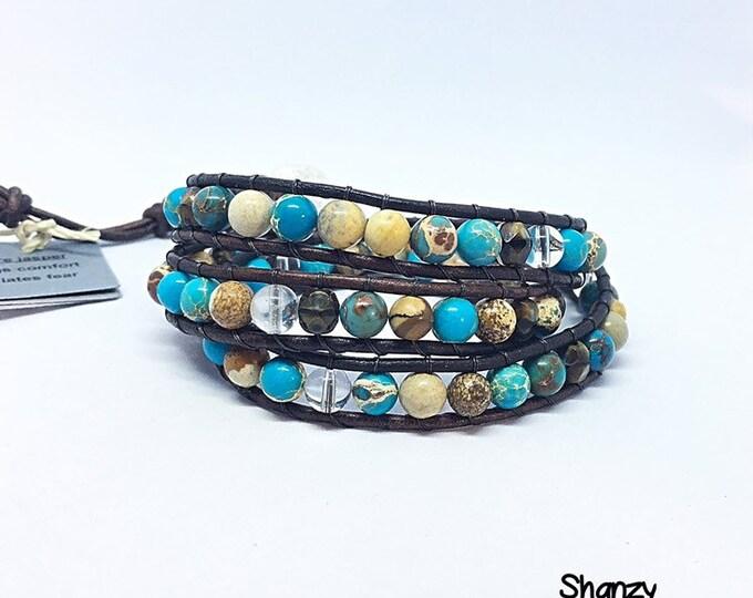 Picture Jasper, Sea Sediment Jasper, Quartz Wrap Bracelet