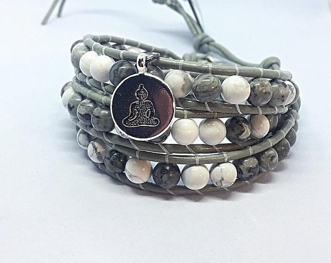 Howlite & Crazylace Agate Wrap Bracelet
