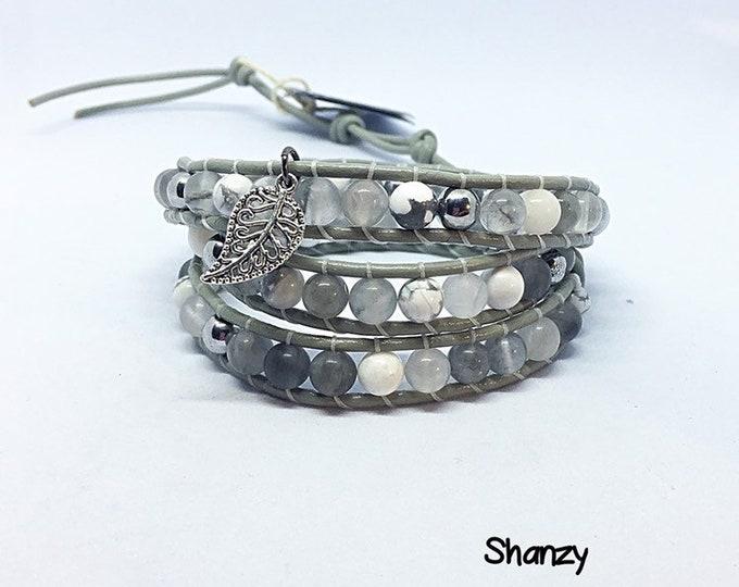 Quartz, Hematite, Jade Wrap Bracelet