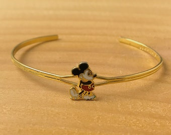 Rare  Vintage Walt Disney Prod. Mickey Mouse Enamel Childs Cuff Bracelet