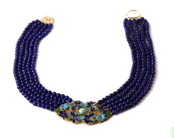 Vintage MMA Egyptian Revival Design Gold Plated Enamel Faux Lapis Lazuli Beaded Necklace