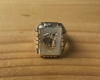 Art Deco Mexican Sterling Silver & 10k Gold Eagle Warrior Biker Ring Aztec Size 9.75