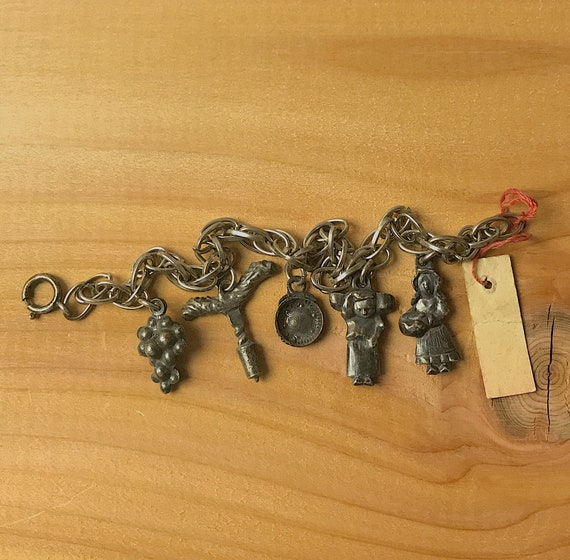 Vintage French Pewter Charm Bracelet Vinyard Theme Original Tag Souvenir