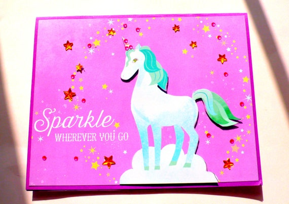 Tremendous Unicorn Cards Kids Birthday Cards Teen Girl Card Magical Etsy Funny Birthday Cards Online Eattedamsfinfo