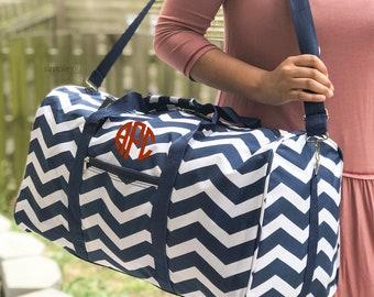 Monogrammed DUFFLE Bag, Personalized Overnight Bag, Chevron Duffle Bag,  Teal Duffle, Weekender Bag, Gym Duffle, Bridesmaid Gift, Girl Bag a57bb01c30