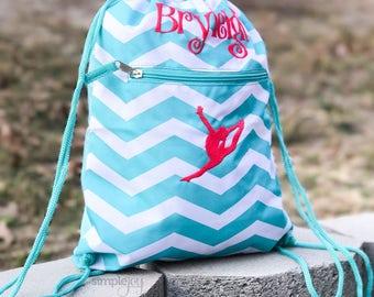 Teal Drawstring Backpack, Gymnastic Bag, Dance Bag, Personalized Drawstring  Bag, Girls Gym Bag, Cinch Sack, Girls Dance Bag, Sports backpack 62840b5e42