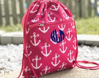 54a9b811a Monogrammed Drawstring Backpack - Cinch Sack - Anchor Drawstring Bag - Navy  Drawstring - Girl Gym bag - Kids Gym Backpack - Aqua Cinch Bag
