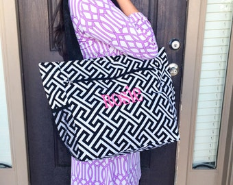 Greek Key Diaper Bag, Cute Diaper Bag, Boy Diaper Bag, Girl Diaper Bag, Black Diaper Bag, Monogrammed Canvas Bag, Bridesmaid Gift, Beach Bag
