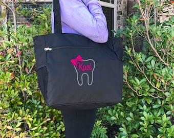 Dental hygienist Gift - Dentist Gift - Dental Gifts - Dentist Graduation Gift - Personalized Gift - Tooth Tote Bag - Monogrammed Dental Gift