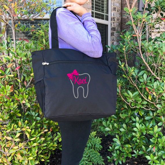 Dentist Dental Hygienist Tote Bag Monogram Monogrammed Personalized