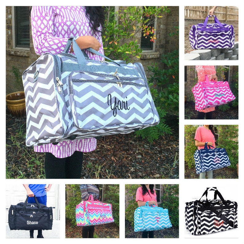 64b17de9f8d5 Chevron DUFFLE Bag Personalized Overnight Bag Monogrammed