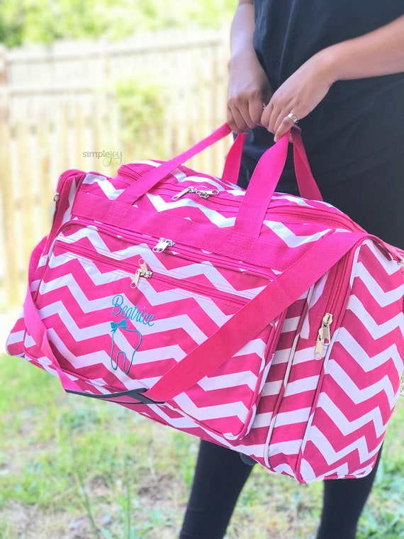 Monogrammed DUFFLE Bag Pink Overnight Bag Women Luggage   Etsy cd27d2e4a1