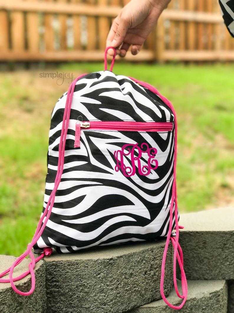 Drawstring Cinch Sack Backpack Zebra Pink