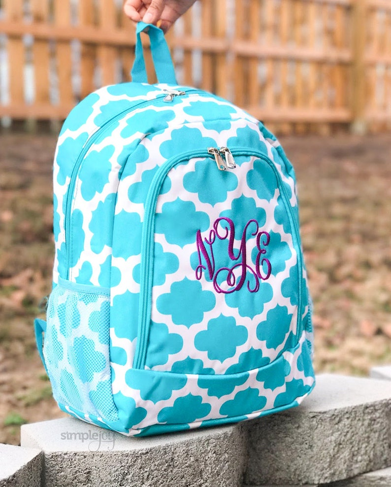 Turquoise Backpack Quatrefoil Backpack Personalized image 0