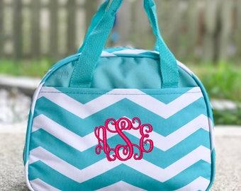 Monogrammed Lunchbox, Personalized Lunchbag, Insulated Tote, Gray Lunch box, Black Bag, Red Bag, Pink Bag, Teal Bag, Purple Bag, Work Bag