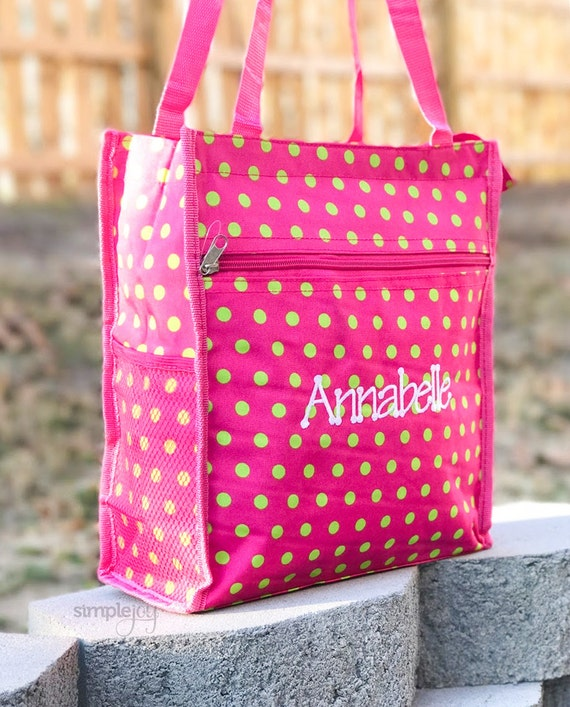 28d828e34f Many Colors Girls Beach Bag Pink Tote Bag Polka Dot Bag
