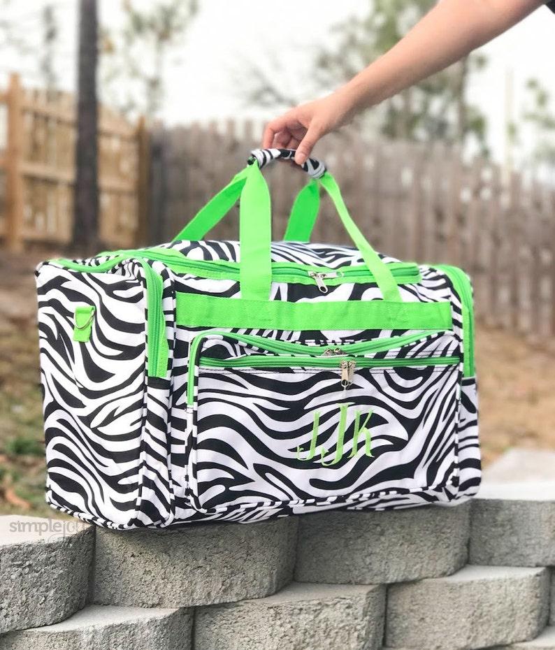 Zebra DUFFLE Bag 22 Large duffle Lime Green Dance Bag  34ee56496058a