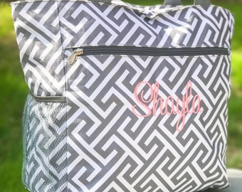 Greek Key Tote Bag, Beach Bag, Gray Bag, Greek Key Diaper Bag, Gray Diaper Bag, Monogrammed Canvas Bag, Bridesmaids Gift, Bridal Bag