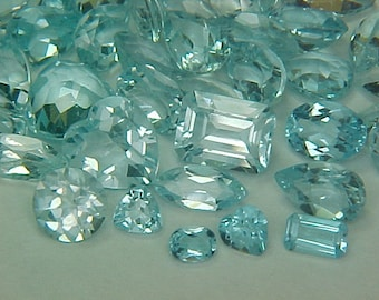 Premium Loose Random Mixed 2mm to 9X7mm Mixed Faceted Blue Topaz Gemstones (10ctw) Parcel Lot ~ BUY 2 GET 1 FREE#1361.10