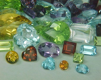 Premium Loose Random Mixed 2mm to 9X7mm Semiprecious Faceted Gemstone (10ctw) Parcel Lot  ~ BUY 2 GET 1 FREE