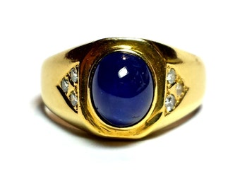 Estate Vintage 18KTYG 3+Carat Large Oval Electric Blue Sapphire Cabochon and Diamond Ring #1000