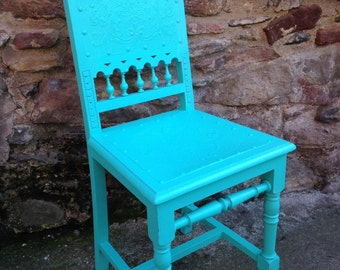Wood Chair restored turquoise