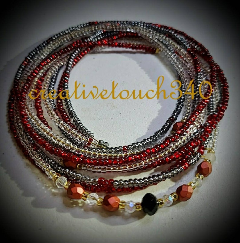 3 Strand Red Dark Gray Clear Gold Colors Waist Bead Set Glass Seed Beads African Afrocentric Jewelry Body Chain Belly Beads Natural Waist