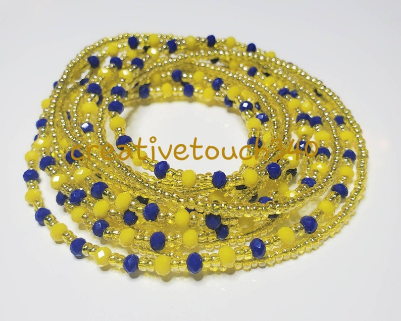 Royal Blue Yellow Gold Glass Bead African Waist Beads Afrocentric Natural Waist Trainer Body Conscious Dancer Jewelry Bohemian Belly Beads