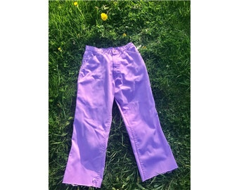 Medium Purple Jeans - Vintage High Waisted Pants size 8 - 70's high waist disco pants - medium purple light weight jeans