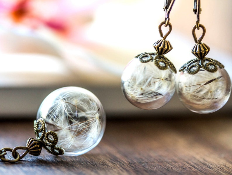 real dandelion Set Necklace and earrings gift for mom earrings necklace gift for her terrarium gift for woman Raffinesse Jewelry set