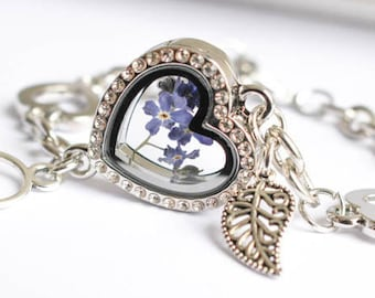 Real flower bracelet. forget me not, flower art, Jewelry Woman Real Dried Flowers, sterling plated bracelet. Valentine's Day