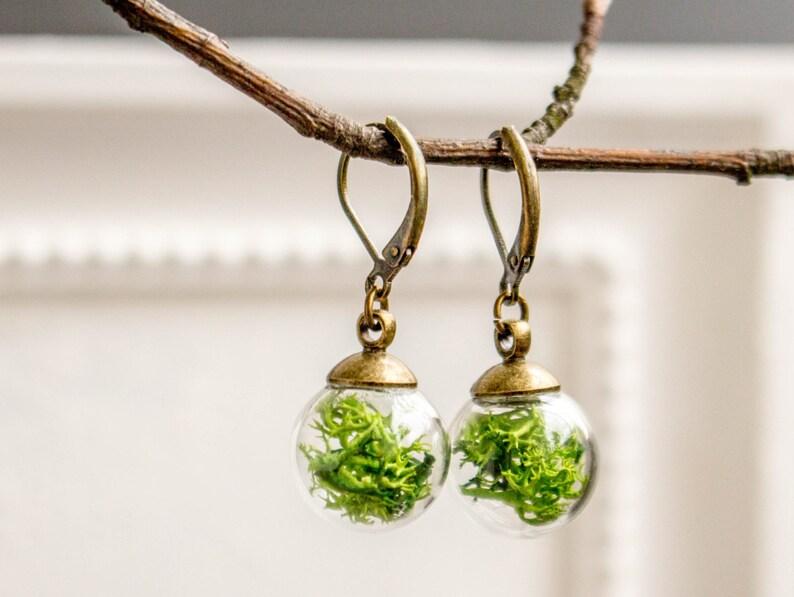 glass globe Jewelry Woman springlike glass globe french earrings green Moss Real Moss earrings vial ball earrings transparent earrings